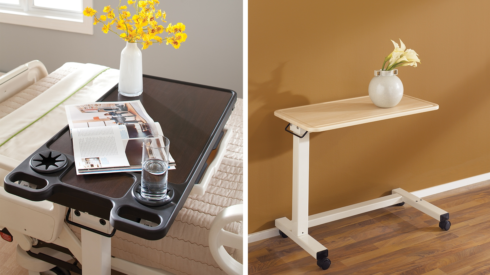 featuring a classic and simple design overbed table is a perfect solution for any patient area with two different styles featuring multiple
